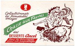 Buvard  Desserts Ancel. Collectionnez Les Images De La Chasse Aux Fauves. Indien, Cheval, Bison. - Cake & Candy