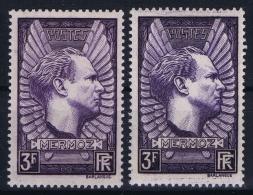 France:  Yvert Nr 338 + 338 V Violet Gris 1937 MH/*  Charniere Falz - Unused Stamps