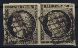France:  Yvert 3b Chamois  Grille, 1849 - 1850  Bande - 1849-1850 Cérès