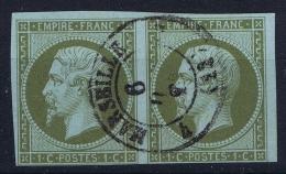 France:  Yvert  11 Obl Used Paire  1860 - 1853-1860 Napoleon III