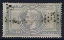 France:  Yvert  33  5 Franc Obl Used   1868 Petit Plier  Ne Pas Lieu Mince - 1863-1870 Napoleon III Gelauwerd