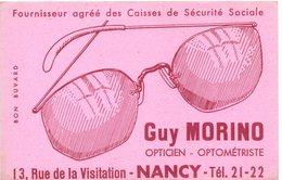 Buvard  Guy Morino, Opticien,  Rue De La Visitation à Nancy. Lunettes. - Blotters