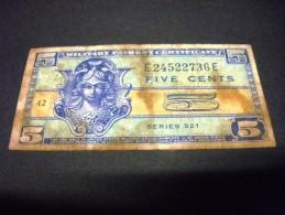 ETATS-UNIS 5 Cents 1954,1954-1958, Pick N° M 29 ,serie 521, USA, War Money ,UNITED STATES OF AMERICA - Certificados De Pagos Militares (1946-1973)