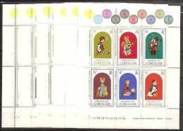 1975 Gibilterra Gibraltar NATALE • CHRISTMAS 6 Foglietti (BF.2) MNH** Souv. Sheets - Gibilterra