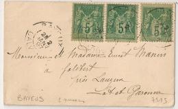 3 SAGE 5C, 2 NUANCES DIFFERENTES, BAYEUX Calvados Sur Enveloppe Pour PARIS. - 1876-1898 Sage (Type II)