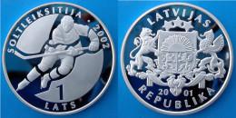 LATVIA 1 L 2001 ARGENTO PROOF SILVER LETTONIA SALT LAKE CITY OLYMPIC GAMES ICE HOCKEY 2002 PESO 31,47g. TITOLO 0,925 CON - Lettonie
