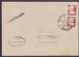"""DDR 8 Pf(2) Karl Marx Mi.Nr. 329, Köpfe II, Behördenpost Meerane (Sachs) """"Modische Kleiderstoffe"""" 1952 - DDR"""