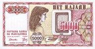 Macedonia 5000 Denar 1992 Pick 7 UNC - Macedonia