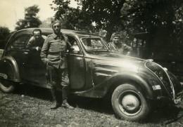 France Soldats Et Belle Automobile Peugeot 402 Ancienne Photo Snapshot Amateur 1938 - Cars