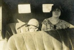 France Lille Dame Et Enfant Pilote Arriere D'une Automobile Ancienne Photo Snapshot Amateur 1920's - Cars