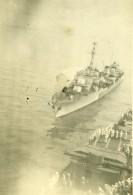 Indochine Marine Accostage Du Triomphant Au Cap Saint Jacques Vung Tàu Ancienne Photo Snapshot 1946 - War, Military