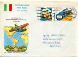 ITALY / ITALIA 1992 - Entire Aerogramme Of 800L Manifestazione Filatelica Nazionale To Buenos Aires - 6. 1946-.. Repubblica