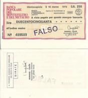 Italy Mini Check 250 Lira Montefeltro Del Metauro 1976 - [10] Cheques En Mini-cheques