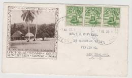 NZO039 / Western Samoa  FDC Mit 3-er Streifen, Frai Bei Der Kava Zubereitung 1935 - Samoa