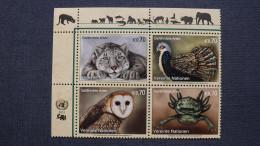 UNO-Wien 749/52 **,  Gefährdete Arten: Schneeleopard, Borneo-Pfaufasan, Neuhollandeule, Axoloti - Wien - Internationales Zentrum