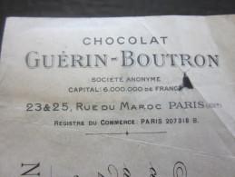 CHOCOLAT GUERIN-BOUTON RUE DU MAROC PARIS 1925   LETTRE DE CHANGE Illustré MANDAT+FISCAL BANK SOCIÉTÉ GÉNÉRALE  CETTE - Lettres De Change