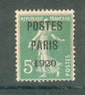 Collection FRANCE ; Préoblitérés ; 1920-22 ; Y&T N° 24 ; Sans Gomme - Preobliterados