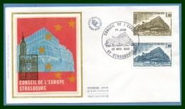 FDC Silk Soie Conseil De L' Europe Strasbourg 1980 N° S 63 /4 - FDC