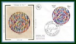 """FDC Silk Soie Agam """" Message De Paix """" Paris & Perouges 1980 N° 2113 - FDC"""
