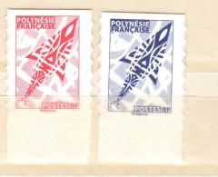 POLYNESIE. 2 TP AUTOCOLLANTS. PROVENANT DE CARNETS. ROUGE, BLEU. VOIR DESCRIPTION. - Carnets