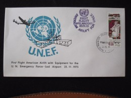 1973 FIRST FLIGHT USA AID YOM KIPPUR WAR UNEF JERUSALEM TEL AVIV CACHET AIR MAIL POST STAMP  LETTER ENVELOPE ISRAEL - Hotel Labels