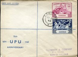 7950 Zanzibar Circuled Cover 1949 To Dar El Salaam,  UPU  Anniversary - U.P.U.