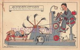 MACHINE à Fessée - Qui Aime Bien Châtie Bien - Illustration Jean De Preissac  - Enfant  - Dos Vierge TTBE - 2 Scans - Humor