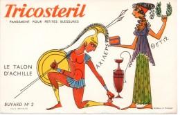 Buvard Tricosteril, Pansement Pour Petites Blessures. Illustration : Le Talon D'Achille - Cake & Candy
