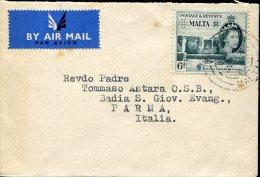 7954 Malta,  Circuled Cover 1954  To Italy - Malte