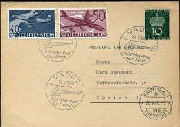 7958 Liechtenstein, Circuled Card 28.v.1960 With The Helicoper Post From Vaduz To Zurich - Air Post