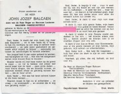 Balcaen John Jozef Balcaen Vandecasteele Vandorpe Vanhauwaert Planckaert Marke Bidprentje Doodsprentje - Religione & Esoterismo