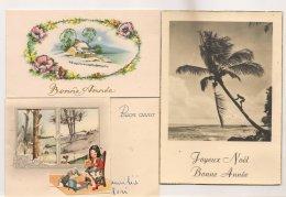 Ldiv142 - Lot De 3 Cartes De Voeux - Enfant Devant Fenêtre Découpée, ,  Paysage Et Photo Palmier - New Year