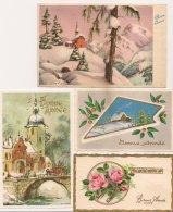 Ldiv148 - Lot De 4 Cartes De Voeux - Paysages De Neige , Roses Tour Doré - Nouvel An