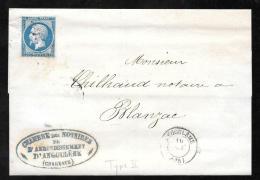 LAc D'Angoulème  Affranchie Par N°14 T2  EN 1861 - Pma3511 - Marcophilie (Lettres)