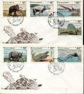8011 Nicaragua,  2 Fdc 1987   Preistoric Animals,  Prehistory,  Prehistoriques, - Préhistoire