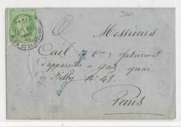 1868 - 5c EMPIRE DENTELE SEUL Sur ENVELOPPE De PARIS Bd De STRASBOURG - PORT LOCAL - 1849-1876: Période Classique
