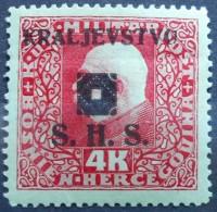 BOSNIA AND HERZEGOVINA REGIONAL EDITION SHS OVERPRINT 4 Kr 1919  Mic.48 - UNUSED WITH FALZ - Bosnia And Herzegovina