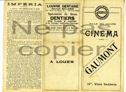 Programme CINEMA MUET Vers 1920 Gaumont Le Havre - Programmes