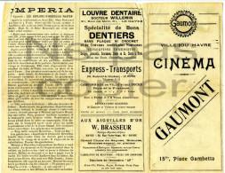 Programme CINEMA MUET Juillet 1920 Gaumont Le Havre - Programmes