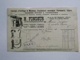 """1920, FACTURE A EN-TETE """" H.FONDEUR"""",PARIS,RUE OBERKAMPF,FABRIQUE D'OUTILLAGE,FERRONNERIE,SOUDURE,CROCHETTERIE MECANIQUE - Petits Métiers"""