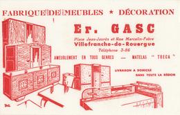Buvard Fabrique De Meubles - Décorations - Er. Gasc - Villefranche De Rouergue - Carte Assorbenti