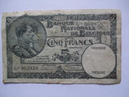 BELGIUM 1931 5 FRANC NOTE - [ 2] 1831-... : Belgian Kingdom
