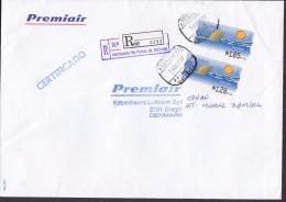 Spain PREMIAIR Registered Certificado Label AEROPUERTO Palma MALLORCA 1997 Cover Letra Denmark 2x ATM / Frama - Poststempel - Freistempel