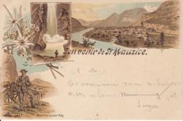 St. Maurice, Souvenir De - Farbige Litho - Grotte Aux Fees, Maurice Luisier Neg., Vue Generale - VS Valais
