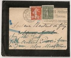 BORDEAUX Gironde, CHEQUES POSTAUX Sur Enveloppe Avec Type SEMEUSE. 30 XII 1921. - Oblitérations Mécaniques (flammes)