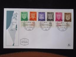 1965 NAZARETH MAP FIRST DAY ISSUE JOUR D´EMISSION JERUSALEM TEL AVIV  AIR MAIL POST STAMP LETTER ENVELOPE ISRAEL - Israel