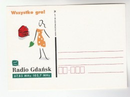 1997 Poland RADIO GDANSK Illus ADVERT Postcard  Broadcasting - Poland