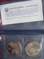YUGOSLAVIA 2x Coins 10 Dinars 1983 Neretva & 10 Dinars 1983 Sutjeska Offical UNC Set In Folder - Yougoslavie