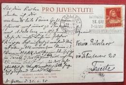 SVIZZERA ST GALLEN  MANIFESTAZIONI INTERNAZIONALI  AGOSTO 1925 ANNULLO TARGHETTA SU CARTOLINA PRO JUVENTUTE - Francobolli