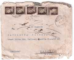 STORIA POSTALE REGNO VITTORIO EMANUELE III CINQUINA 10 CENT + ANTITUBERCOLARE 1937 ITALIA MASSAUA - Marcophilia